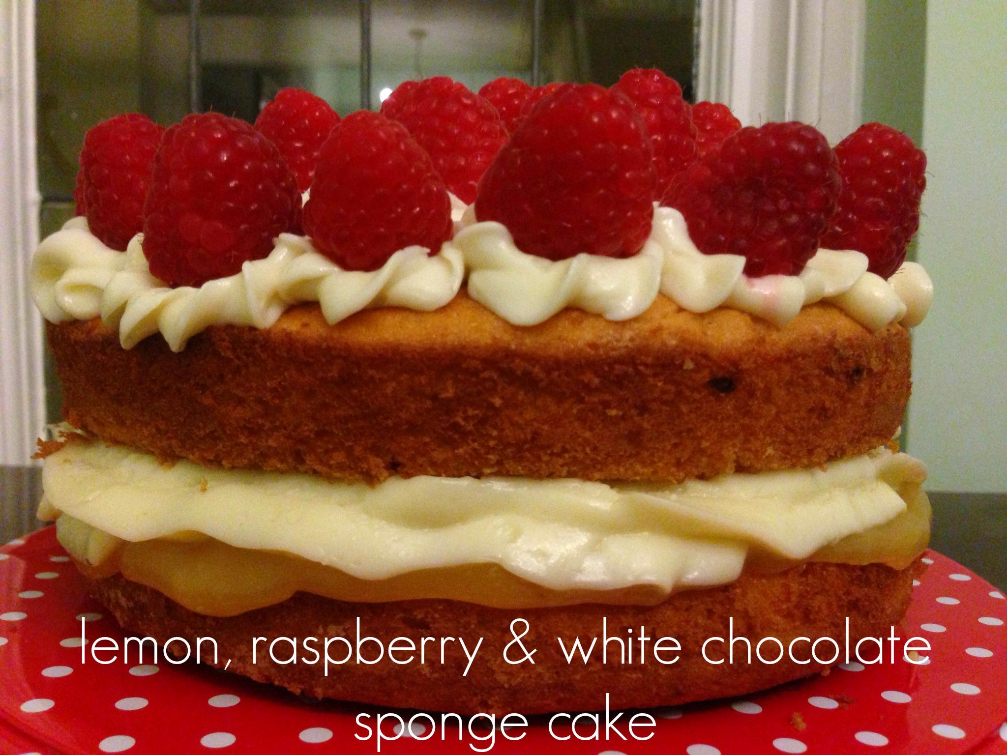 White Chocolate Cake Recipes Uk: Lemon, Raspberry & White Chocolate Sponge Cake (GBBO #1