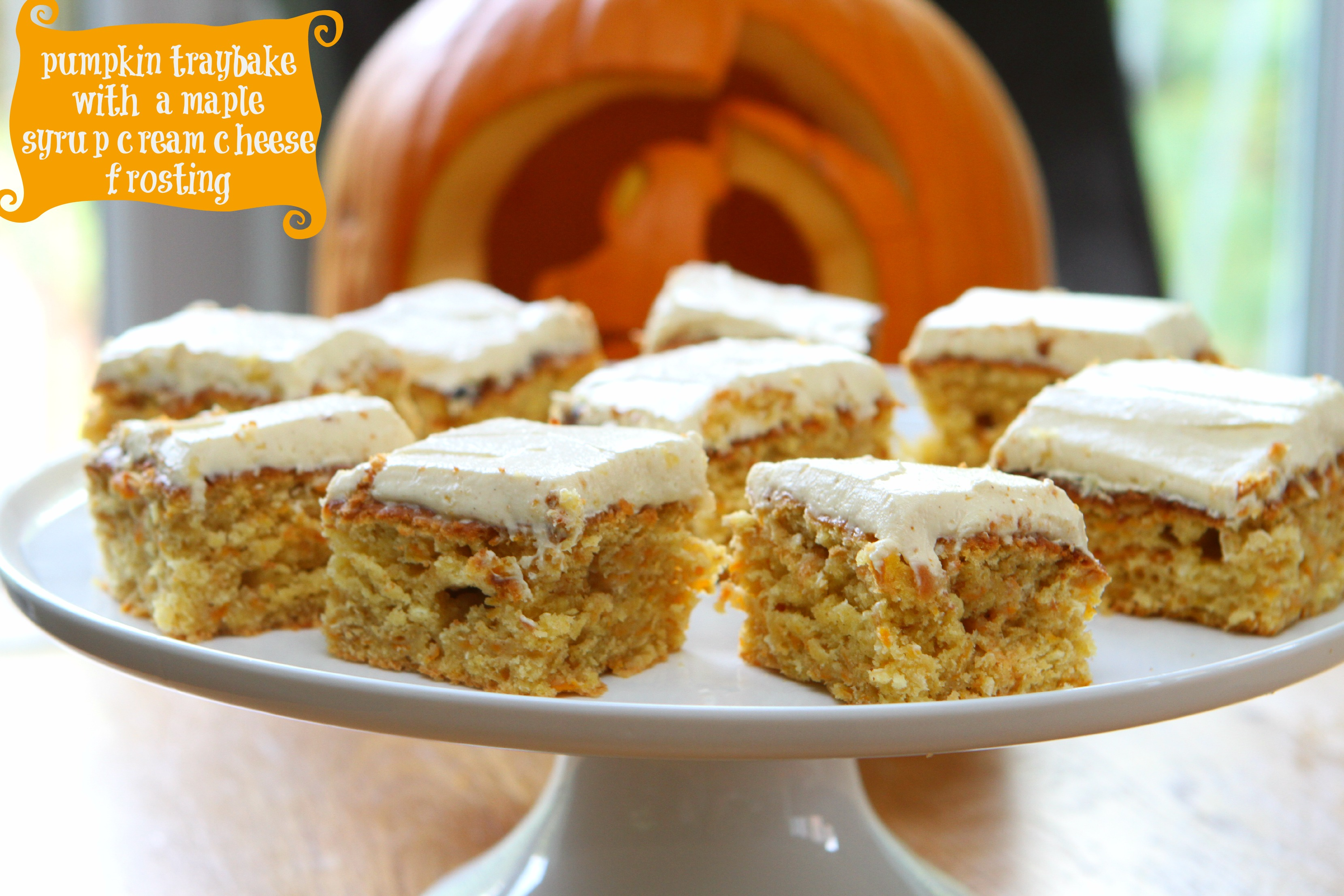 Pumpkin Traybake with a Maple Syrup Cream Cheese Frosting - mummy ...