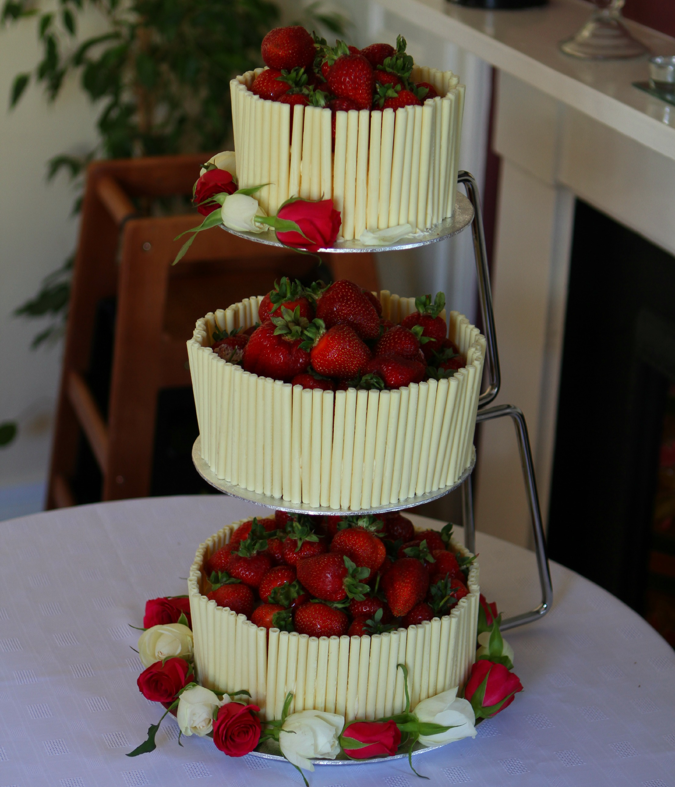 Strawberry and White Chocolate Wedding Cake with an