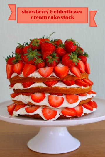 Strawberry & Elderflower Cream Cake Stack