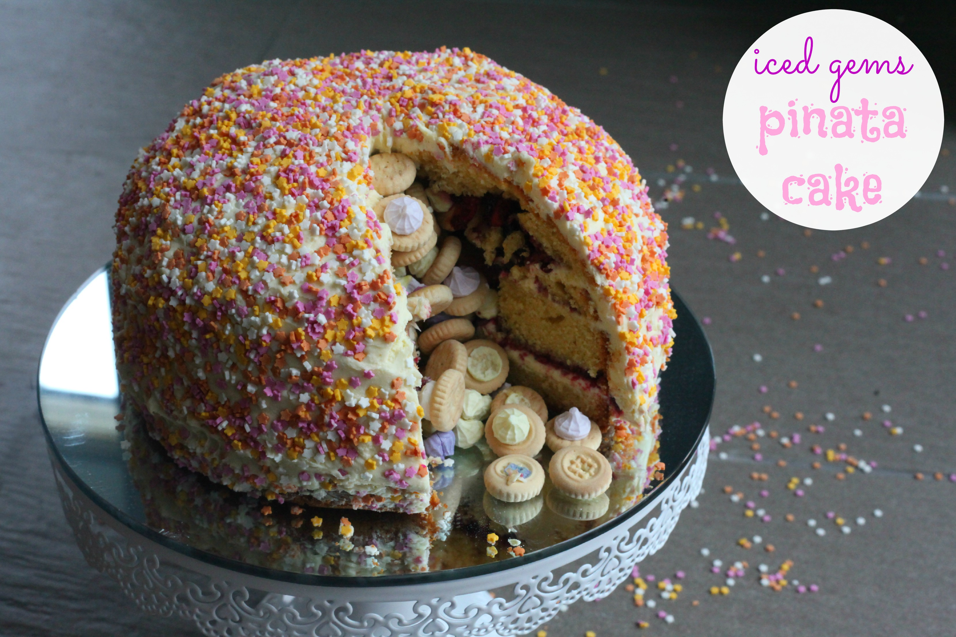 Cake Images With Gems : Bake Escape Iced Gems Pinata Cake (Review + Give Away ...