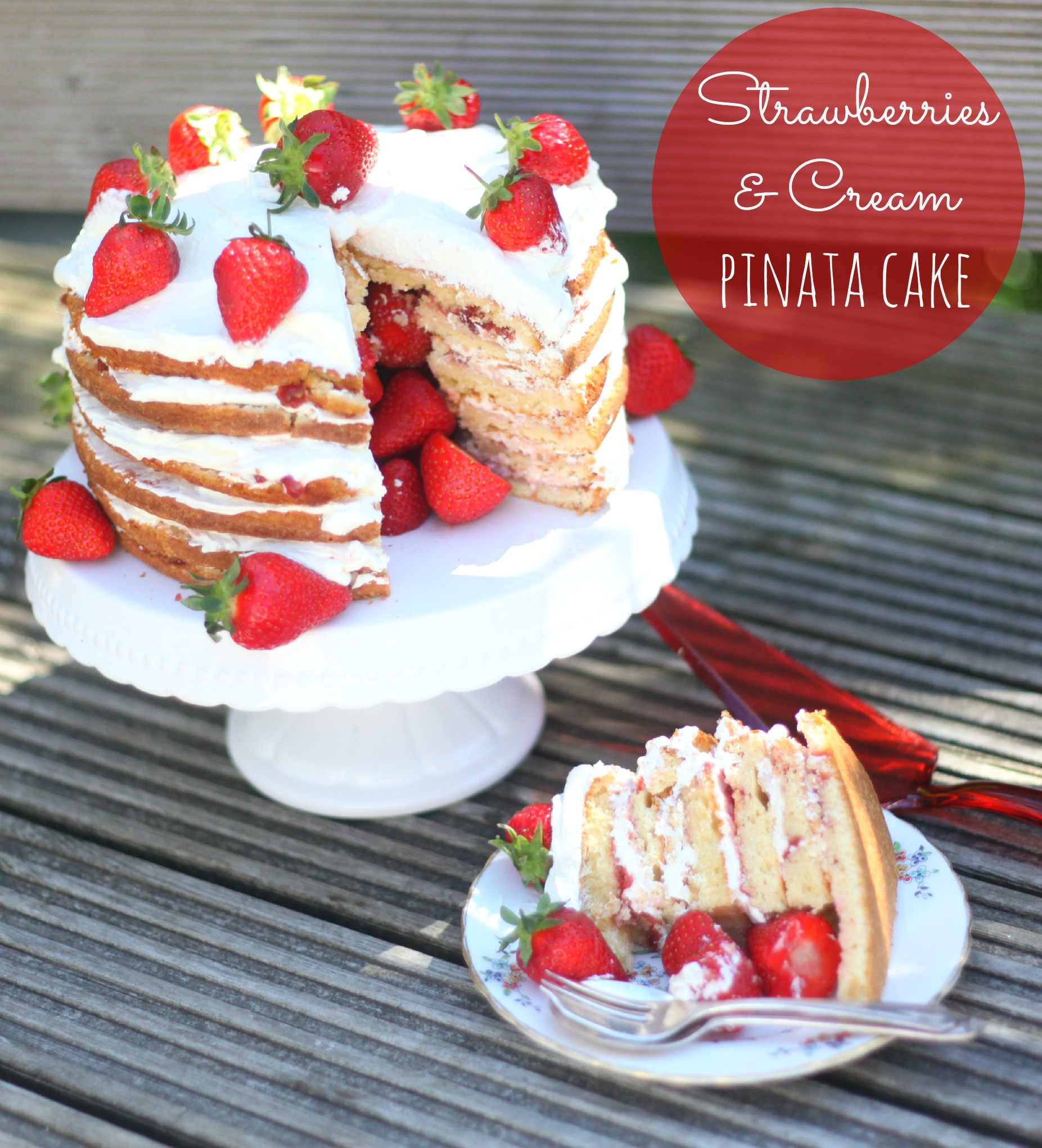 Strawberries Amp Cream Pinata Cake Mummy Mishaps